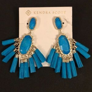 KENDRA SCOTT TURQUOISE HOWLITE TASSEL EARRINGS